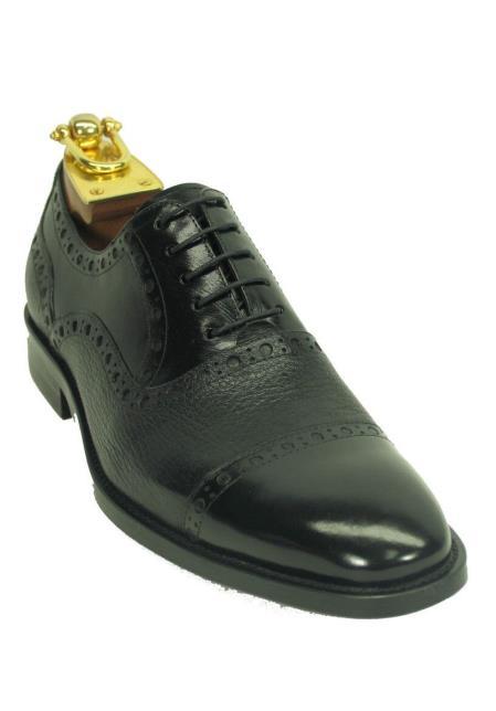 Buy SM4289 Carrucci Men's Genuine Deer Leather Lace Black Cap Toe Oxford Shoes