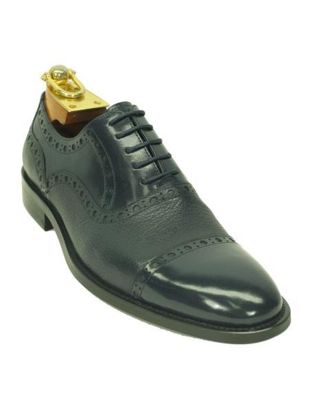 Buy SM4282 Carrucci Men's Navy Genuine Deer Leather Lace Cap Toe Oxford Shoes