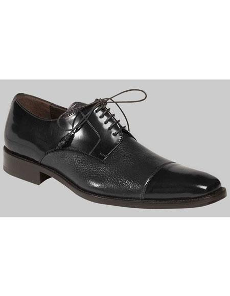 Buy AP464 Mens Black Lace Deer Skin Polished Cap Toe Oxford Leather Shoes Authentic Mezlan Brand