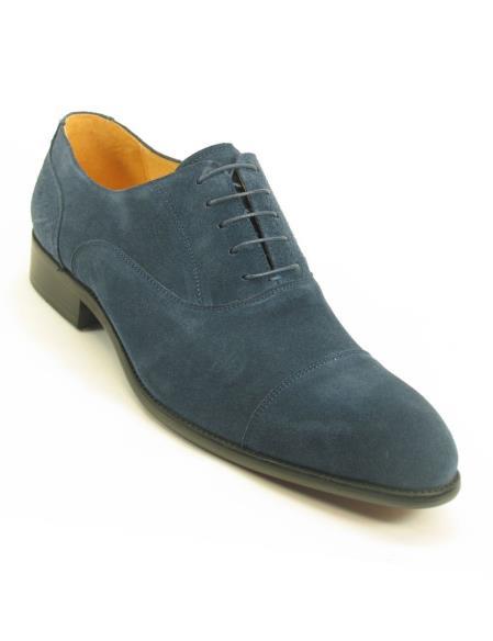 Mens Fashionable Carrucci Cap Toe Denim Laceup Style Suede Shoes