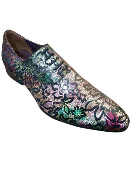 Mens cap toe lace-up floral designed multicolor Zota Mens Unique Dress Shoes Unique Zota Mens Dress Shoe