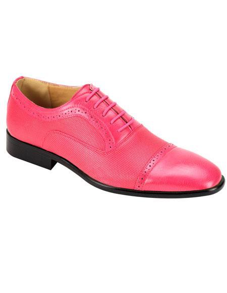 Mens Stylish Cap Toe Fuchsia Casual Dress Shoes