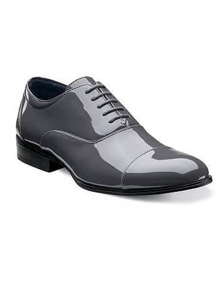 SKU#CH118 Mens Gray Cap Toe Laceup Patent Uppers Formal Shiny Tuxedo Dress Shoes