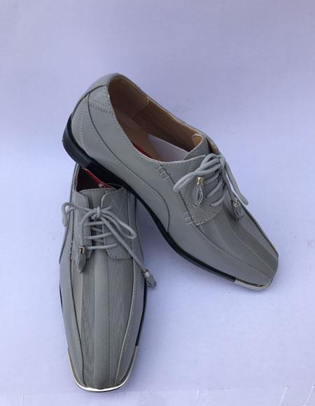Mens Cap Toe Lace Up Style Gray ~ Grey Dress Shoes