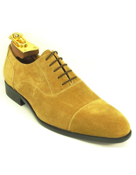Carrucci Mens Genuine Suede Oxford Cap Toe Lace Up Style Wheat Shoe