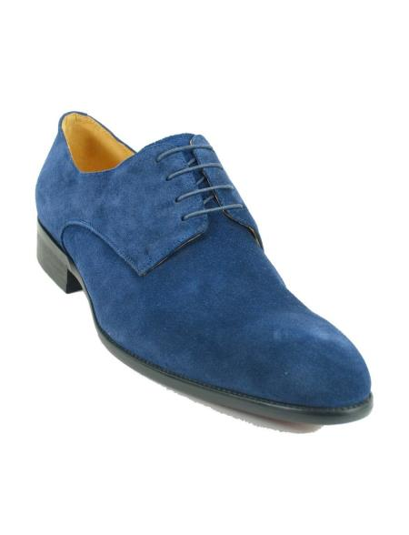 Men's Navy Cap Toe Laceup Style Suede Fashionable Carrucci Shoes