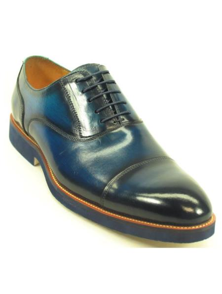 Carrucci Mens Navy Genuine Leather Lace Up Cap Toe Oxford Shoes With Matching Sole