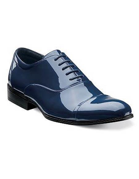 Buy CH120 Mens Cap Toe Laceup Patent Uppers Navy Formal Shiny Tuxedo Dress Shoes
