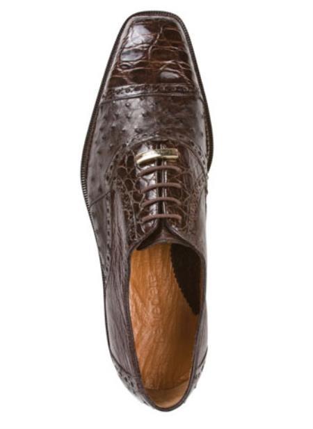 Belvedere Onesto Mens Brown Ostrich Crocodile Cap Toe Shoes