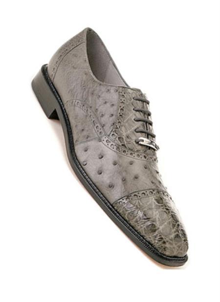 Men's Gray Ostrich Crocodile Cap Toe Shoes