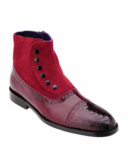 belvedere men's classic 1920's style side zipper leather ostrich skin red cap toe spat boots ankle dress style for man