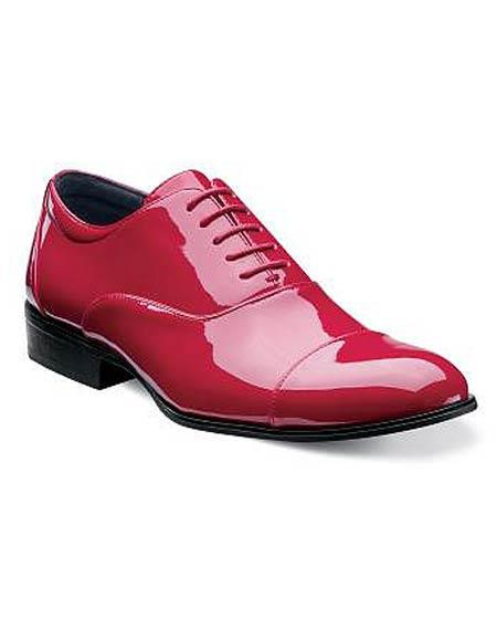 CH119 Mens Cap Toe Laceup Patent Uppers Formal Shiny Tuxedo Dress Shoes Red