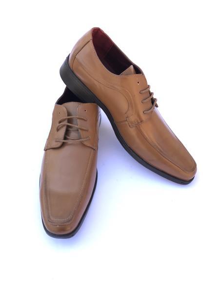 Mens Cap Toe Lace Up Style Solid Cognac ~ Camel ~ Tan~ Coffee Dress Shoes