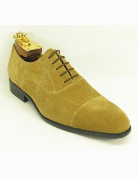 Mens Fashionable Carrucci Lace Up Style Suede Cap Toe Wheat Shoes
