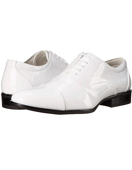 Tuxedo White Oxford Mens Shoes Perfect for Prom and Wedding Perfect for Men Patent Leather Lace-up Closure Cap toe