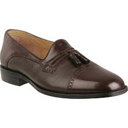 SKU# : 65710 Captoe slip-on tassel with nappa and tumbled leather. Leather sole. $99
