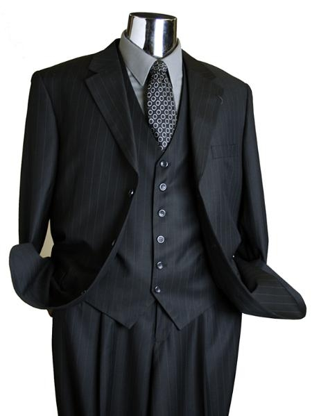 SKU#EB4890 Caravelli Black Pin 3 Piece Vested Mens Italian Design three piece suit $125