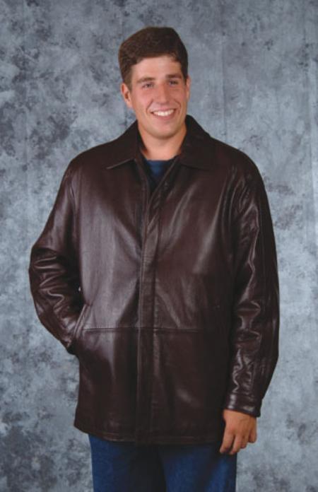 SKU#EV426 Car coat in Shrunken lamb Brown $249