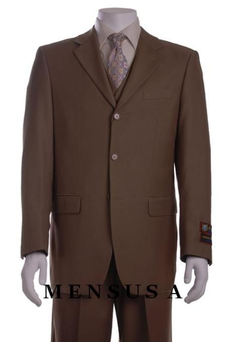 SKU#M300A Carmel~Light Brown~Mocca~Very Drkish Tan 3 Piece Vested Mens three piece suit $139