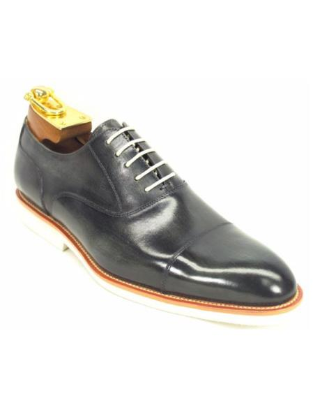 Carrucci Mens Grey Genuine Leather Lace Up Oxford Fashion Shoes With White Sole