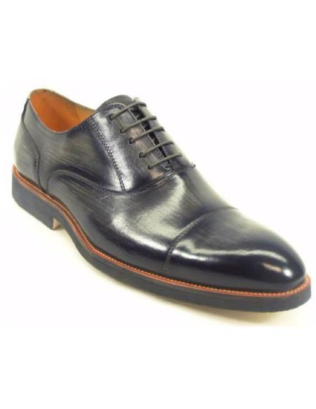 Carrucci Men's Grey Genuine Leather Lace Up Style Oxford Shoes With Matching Sole
