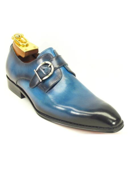 Carrucci Men's Slip On Genuine Leather Monk Strap Style Teal Dress Shoe Stylish Dress Shoes - Men's Buckle Dress ShoesOcean Blue - Teal Dress Shoe - Antique blue Shoe