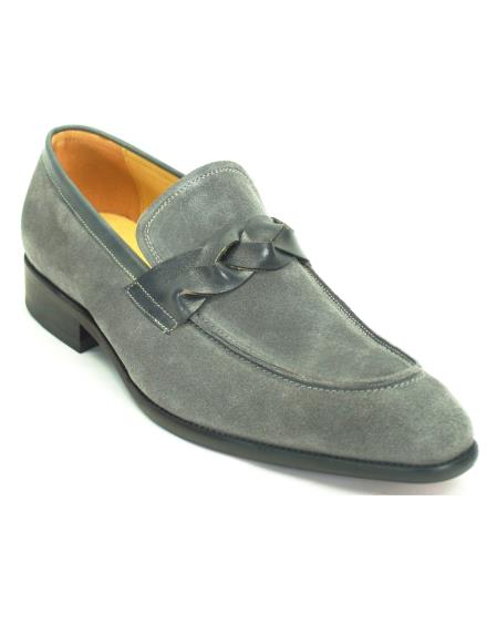 Carrucci Men's Fashionable Slip On Genuine Suede With Leather Trim Stylish Dress Loafer Shoes Grey
