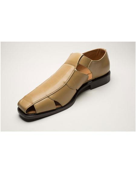 Mens Two Toned Casual Sandal tan Shoes
