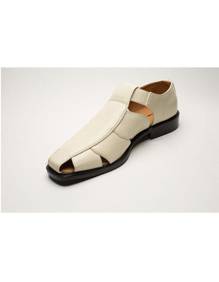 Mens Two Toned Cream Casual Leather Sandal