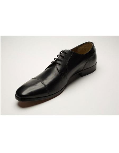 Men's Two Toned Lace Up Casual Black Dress Shoes