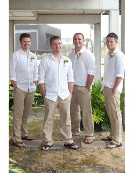 Mens Casual Groomsmen Attire Any White Linen Shirt & Tan or Black or White Pants Package Combo to Place Color Of Your Choice