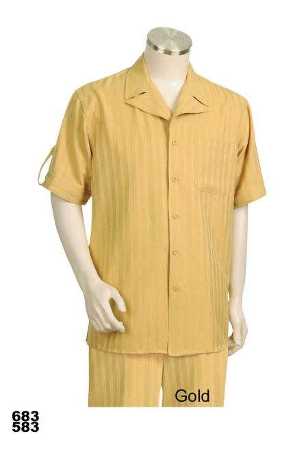 SKU#VD1001 Casual Walking Suit Set (Shirt & Pants Included) Gold