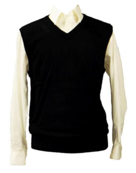 Mens 100% Acrylic Light Weight Casual Wear Black Solid Sweater set Available in Big And Tall Sizes