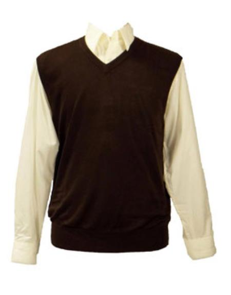 Men's 100% Acrylic Brown Light Weight Casual Wear Solid Sweater set Available in Big And Tall Sizes