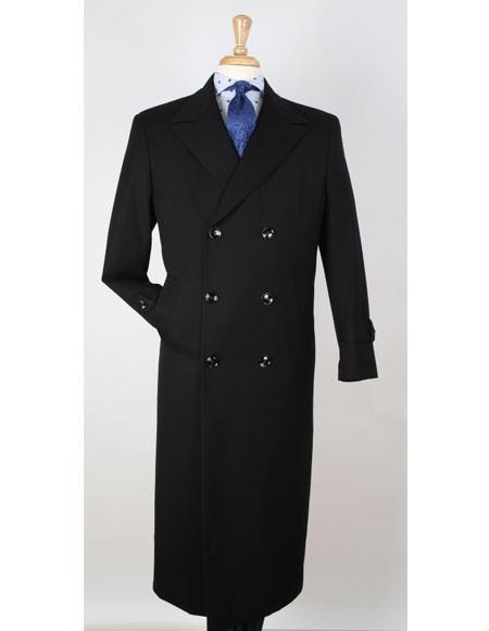 Maxi Full Length Jet Black Color ! Mens Big & Tall Wool Gabardine Top Coat - Trench Coat Style