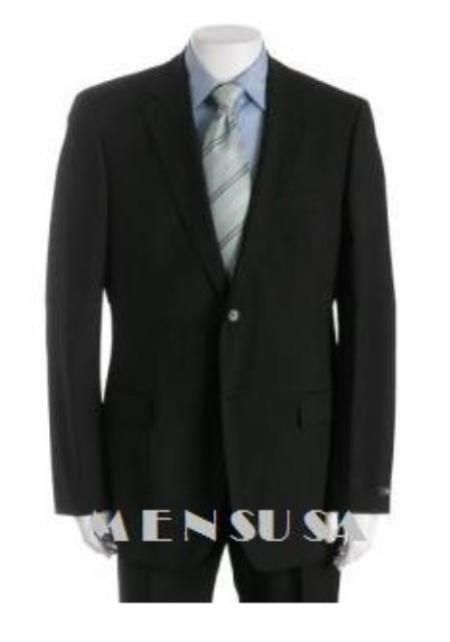 SKU# PJ4 Center Vent Black 2 Buttons Double Pleated Mens Super Wool 2 Button $225