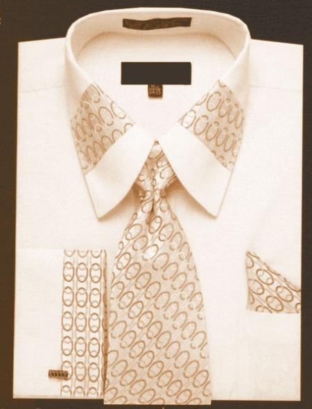 SKU#GF420 Chain Pattern, Fench Cuffed Shirt with Tie Set
