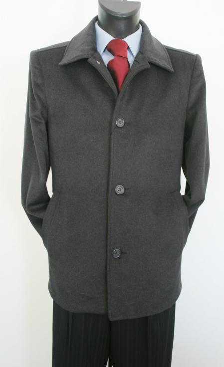 Mens Dress Coat Valenti Designer Wool & Cashmere Single breasted Car Style Charcoal