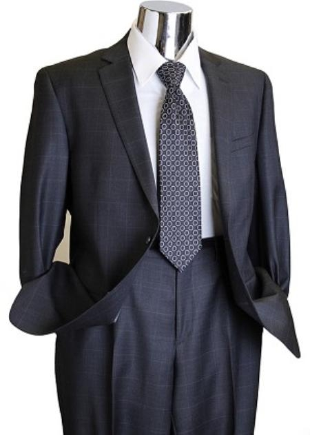 Charcoal Window Pane Style Men's Designer Suit Charcoal 2 Piece Suits - Two piece Business suits Suit