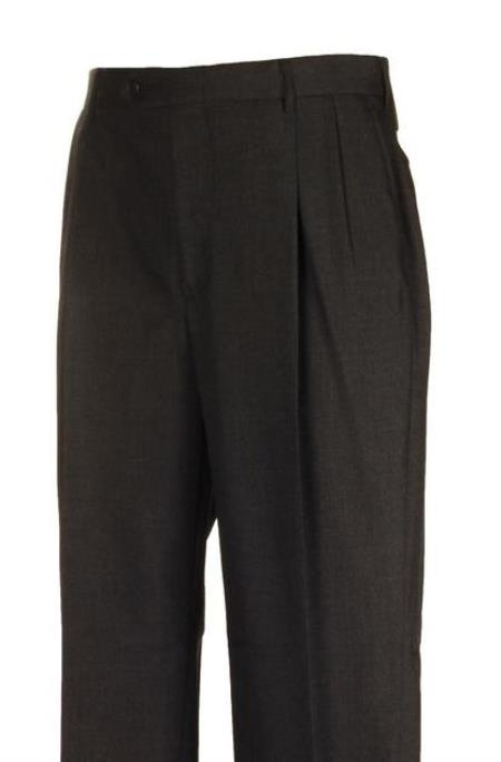 American USA Made Charcoal Pleated Dress Pants unhemmed unfinished bottom