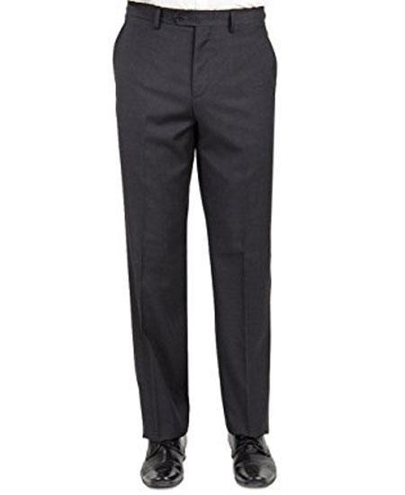 Mantoni Men's Charcoal Modern Fit Front Front Pant - Cheap Priced Dress Slacks For Men On Sale
