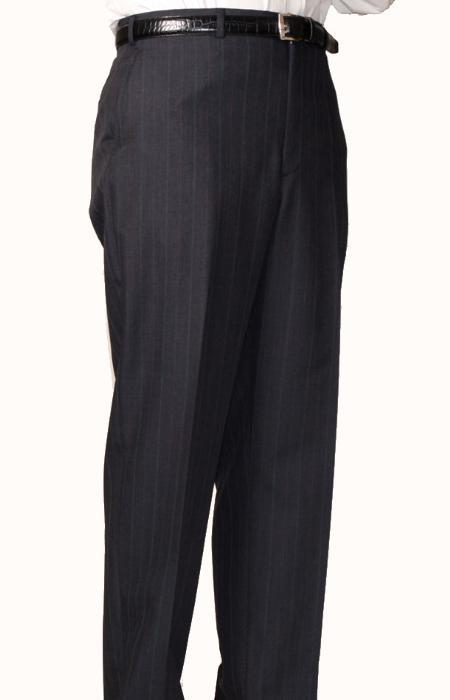 Charcoal Blue Bond Flat Front Trouser