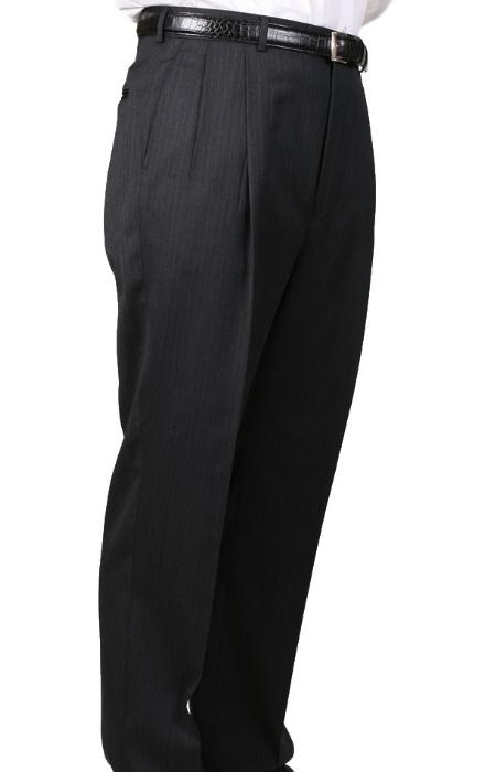 SKU#YP9038 Charcoal Somerset Pleated Trouser