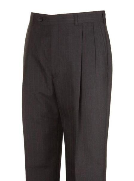 Charcoal Striped Wool Blend Pleated Dress Pants unhemmed unfinished bottom