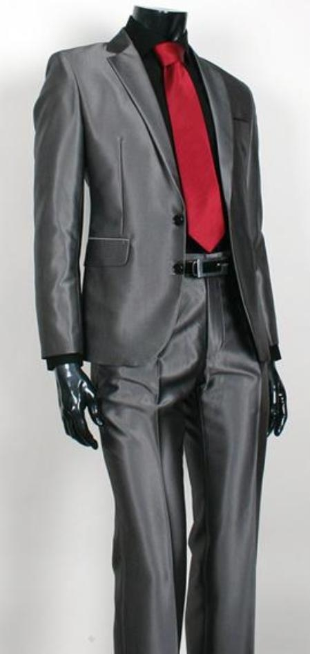 Shiny Sharkskin Charcoal Gray 2 Button Style Jacket Flat Front Pants New Style  - Color: Dark Grey Suit