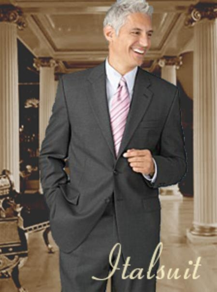 SKU#BE0212 Charcoal 2 Button Wool 2pc Suit Super 150s with Hand Pick Stitching on Lapel