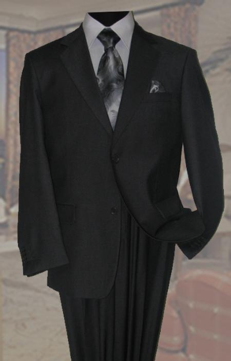 SKU#QB2891 Charcoal Mens Wool Suit 2 Button 2pc Super 150s With Hand Pick Stitching on Lapel