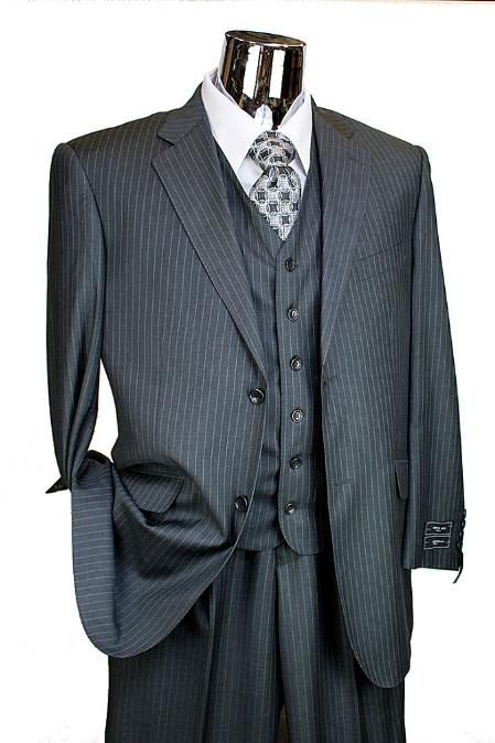 SKU# BER_TZ39 Mens Charcoal Pinstripe 3 Piece 2 Button Italian Designer Suit Flat Front No PleatedPants