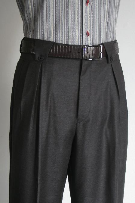 Leonardo Velenti Brand Mens Wide Leg Pants Charcoal unhemmed unfinished bottom