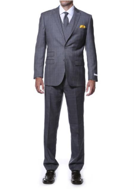 Notch Lapel Side Vent Charcoal 3 Piece Vested Window Pane Slim Fit Plaid Suit